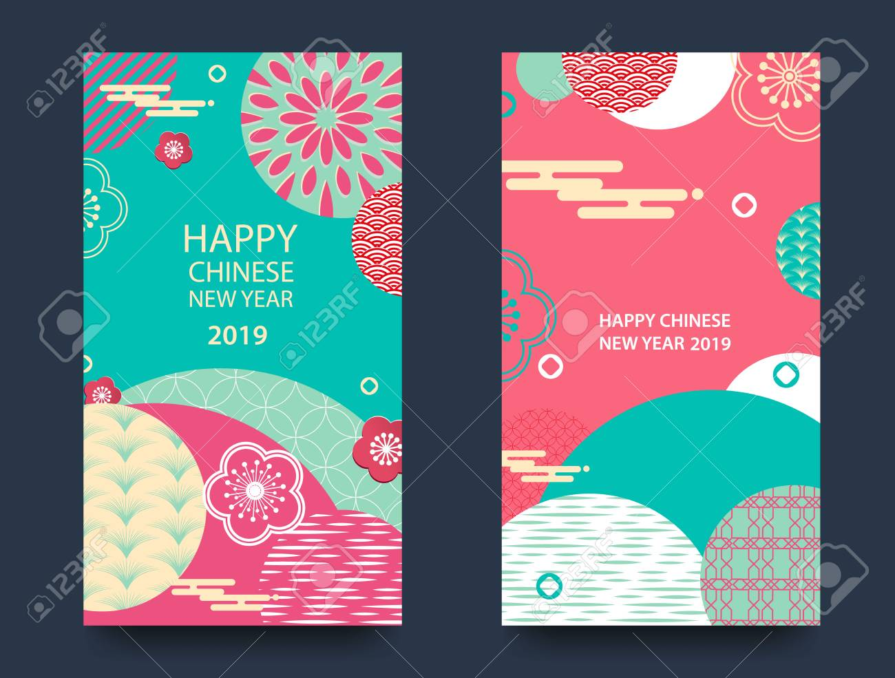Happy New Year 2019 Chinese New Year Greeting Card Poster Flyer