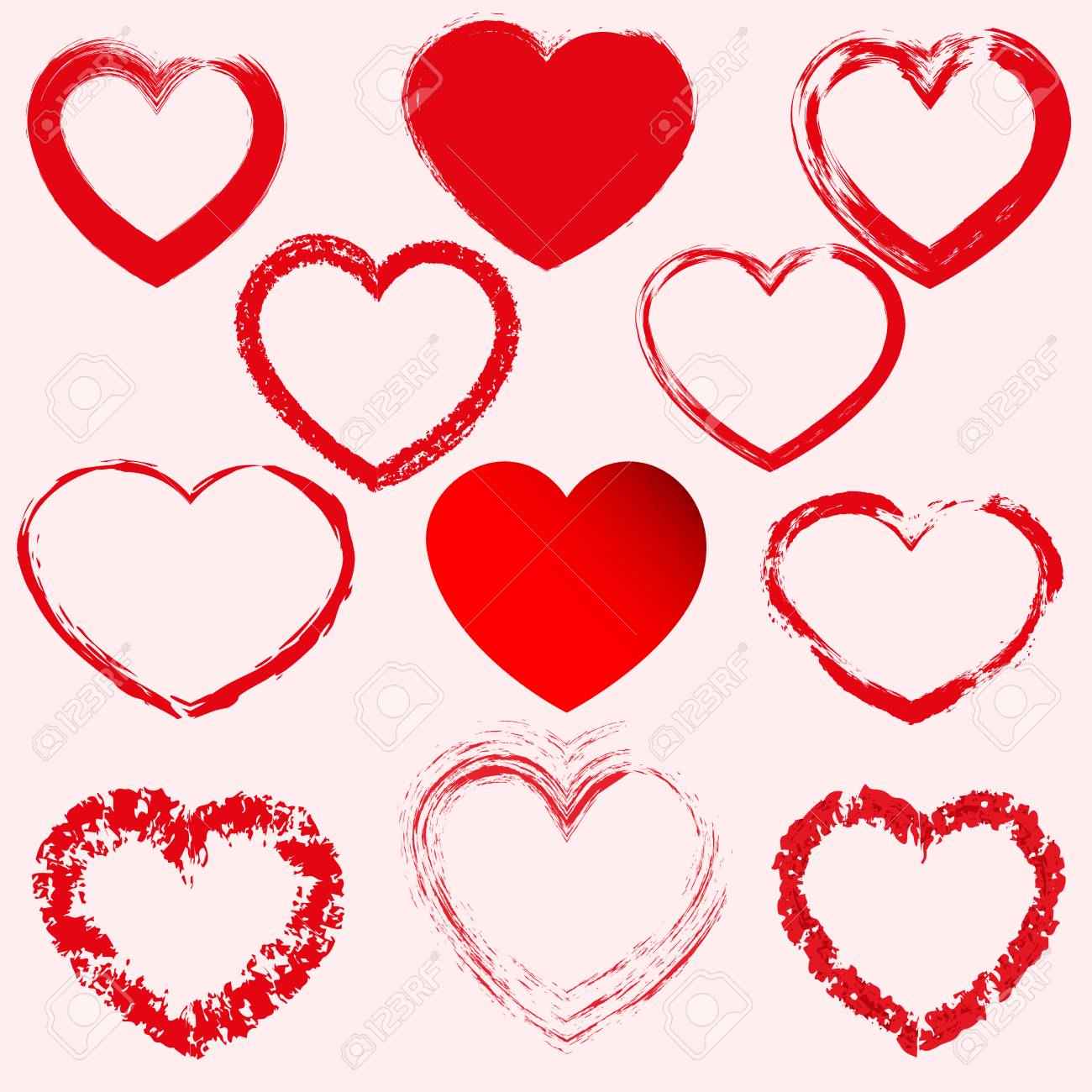 Hand drawn hearts. Design elements for Valentine s day. - 120929708