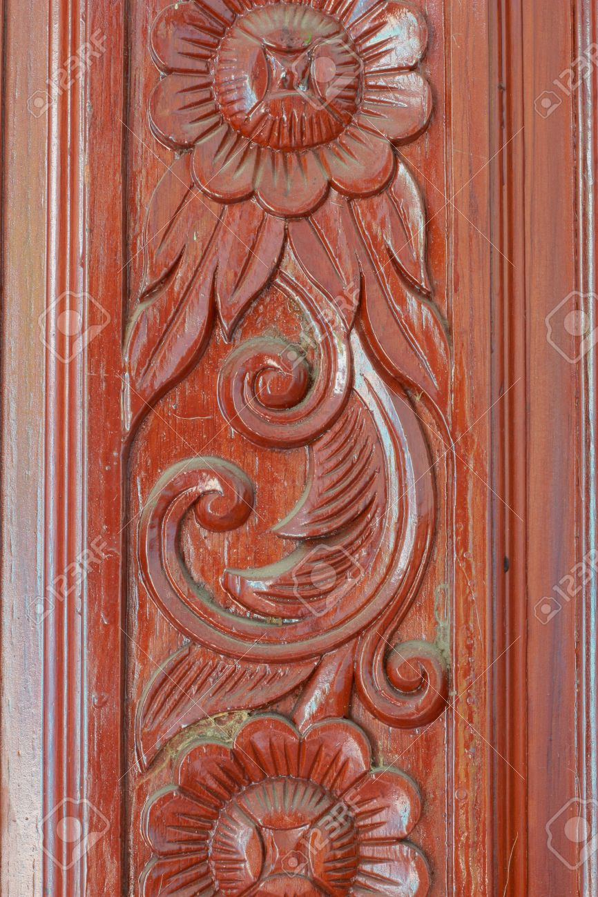 patterns carved wooden doors flowers stock photo picture and