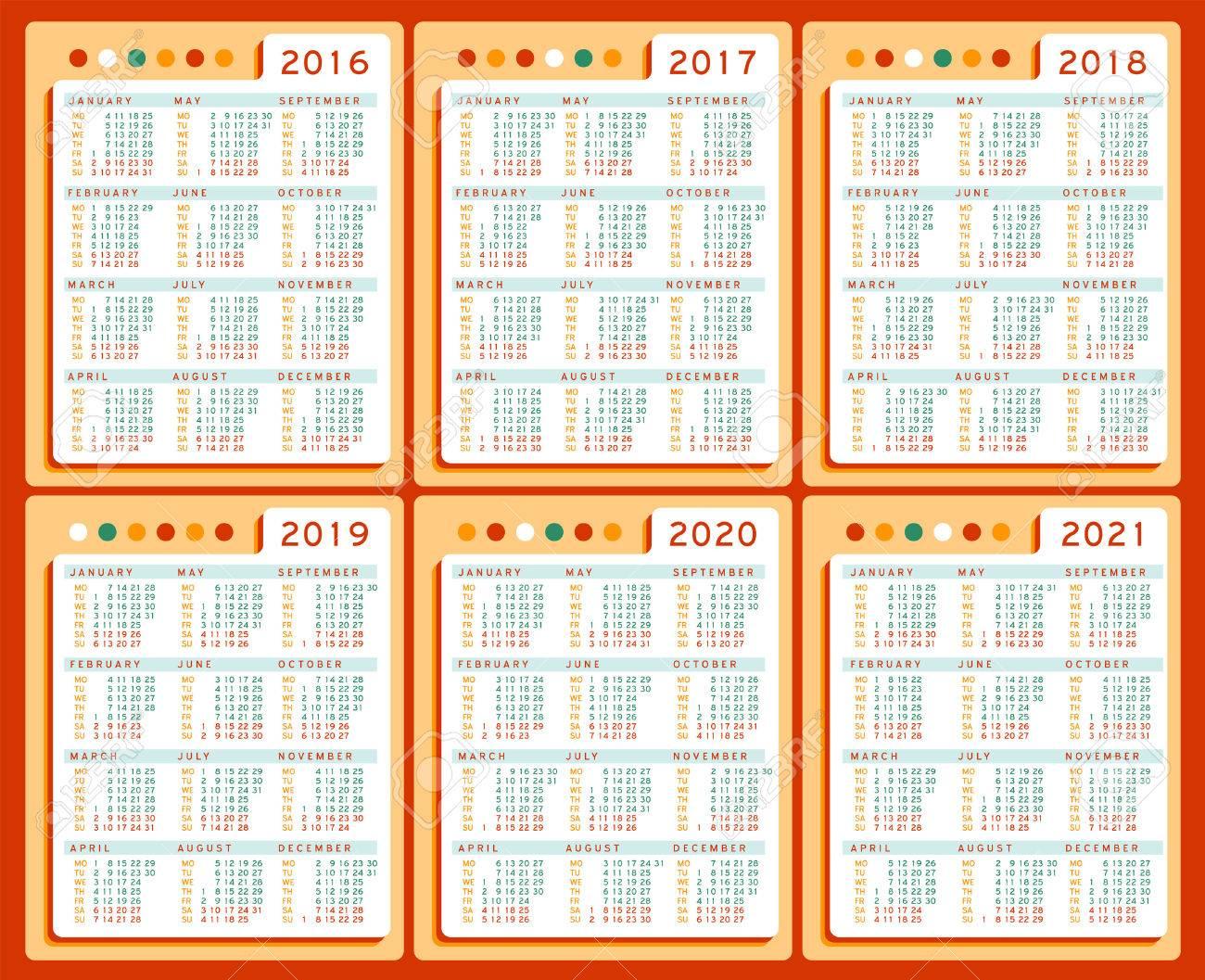 Calendar 2016 2017 2018 2019 2020 2021 Years Vector Set In English