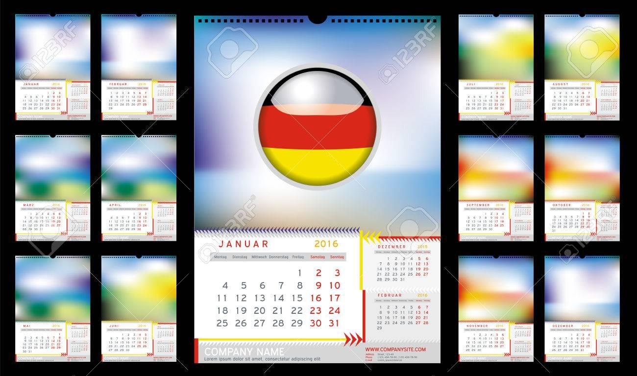 Calendario Anno 2015 Mensile.Calendario Mensile Da Muro Per L Anno 2016 In Tedesco La Settimana Inizia Lunedi Le Vacanze Non Sono Contrassegnate Colore Cmyk Pronto Per La