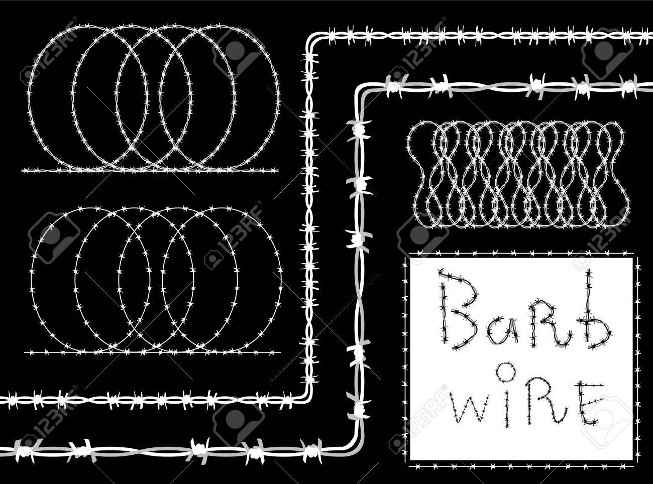 Barbed wire vector brush - Barb Wire Barbed Wire Border Set White Silhouette On Black Background Vector