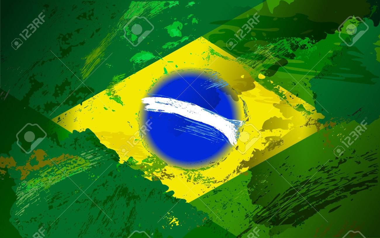brazil flag with grunge texture vector shabby background in
