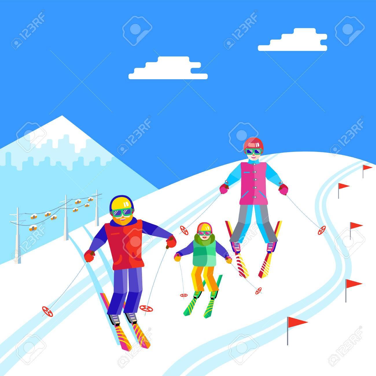 Porträt Einer Familie Die Spaß Im Schnee Im Skigebiet Wohnung