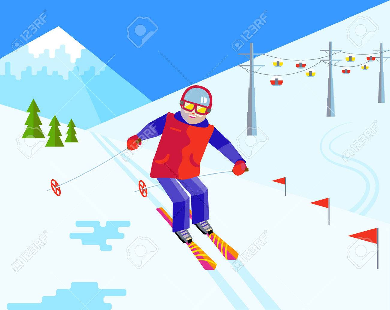 bearded man skier in helmet and goggles having fun in the snow