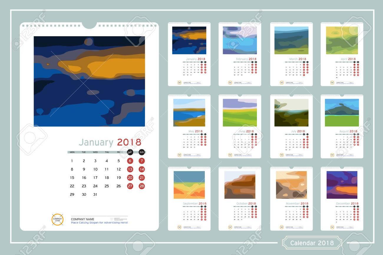 Monatliche Kalender Für Das Jahr 2018. Vector Design-Vorlage Mit ...