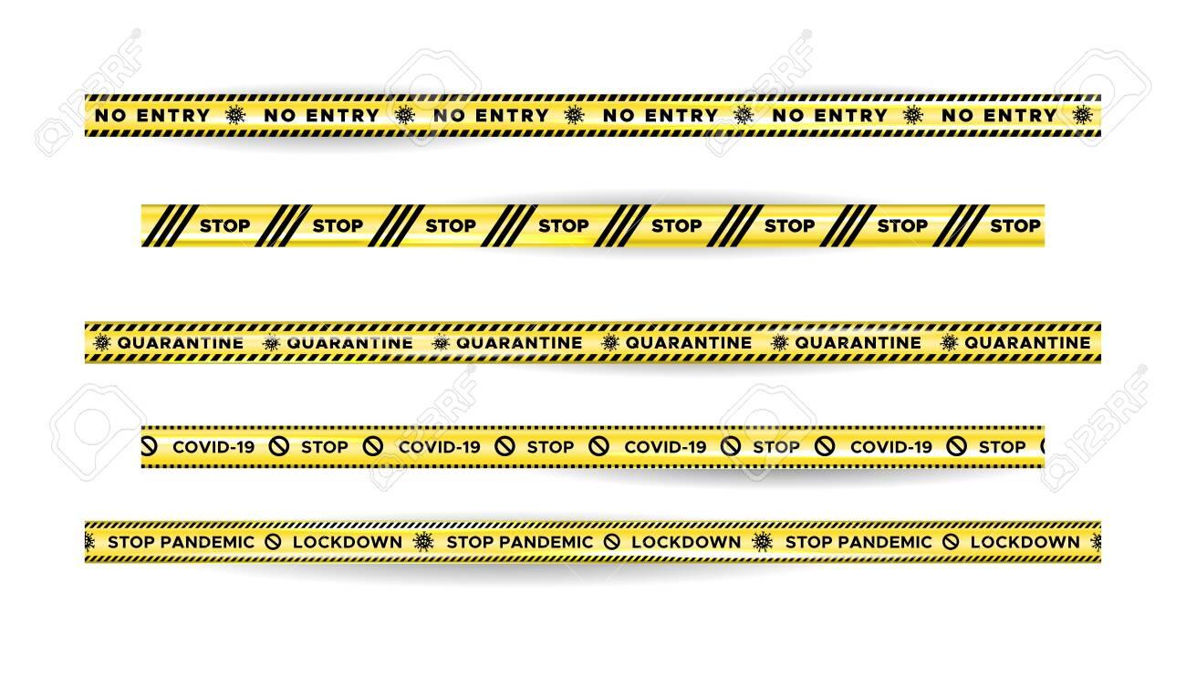 Warning Danger quarantine tape fencing. Black and yellow quarantine stripes. - 144990895