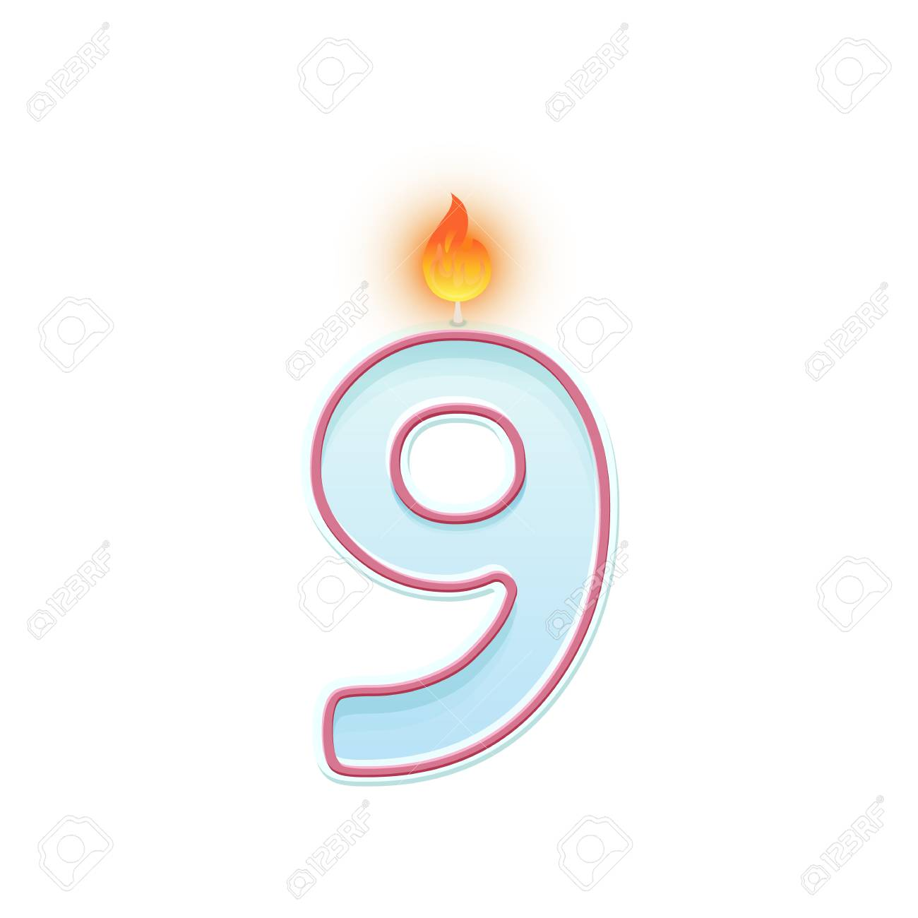 Candle number nine. 9 symbol. Burning candle. Cartoon realistic vector candle number for Birthday cakes - 117020832
