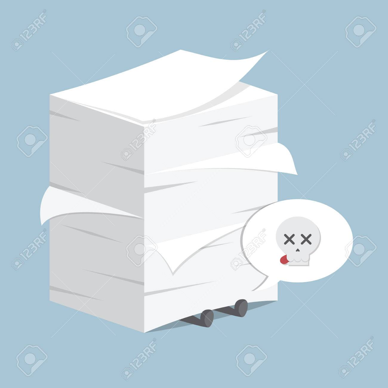 businessman under the stack of paper, vector, eps10 royalty free