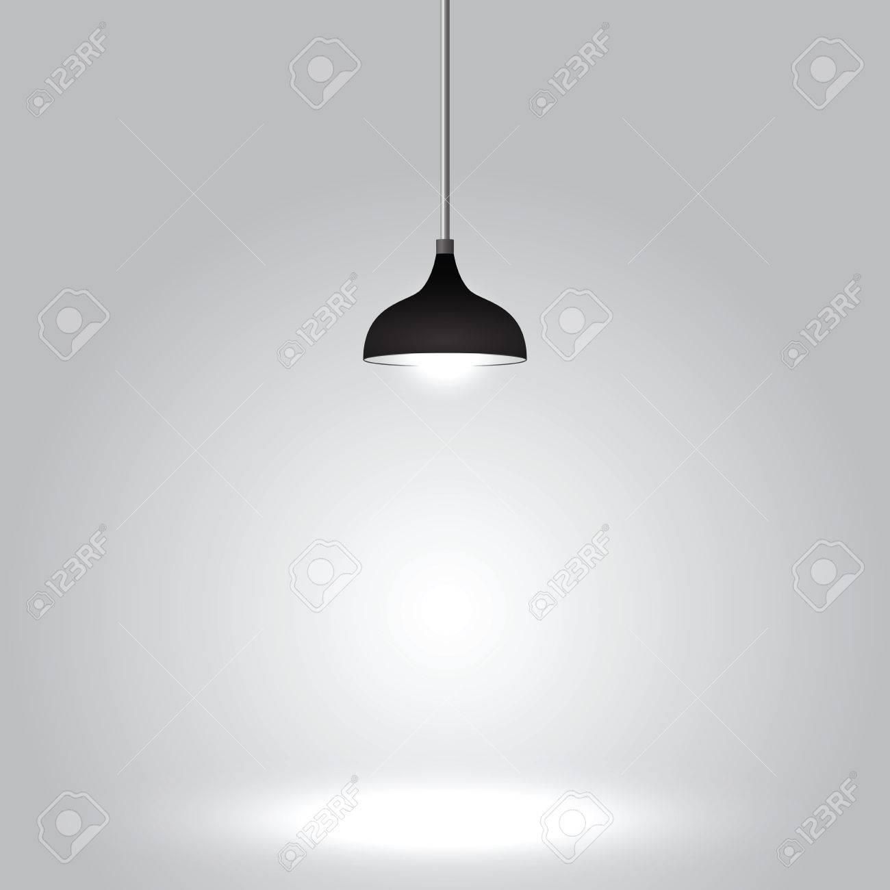 Black ceiling lamp on gray background, VECTOR, EPS10 - 35118480