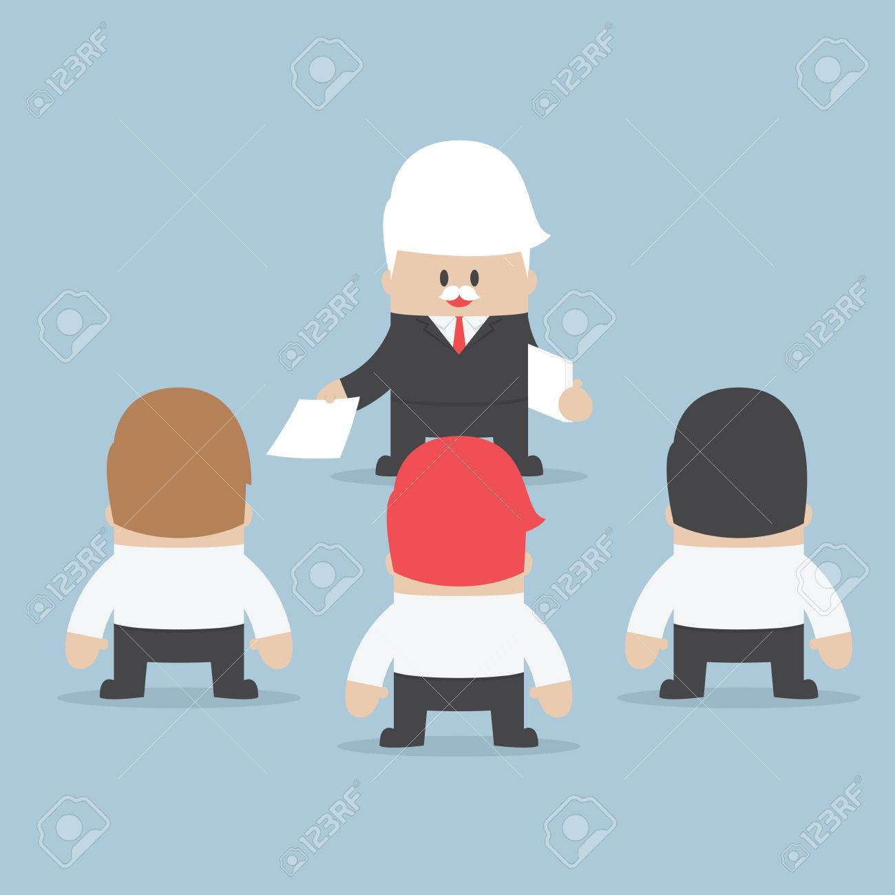 Businessman divide up the work to his employee, Delegation concept, VECTOR, - 39768778