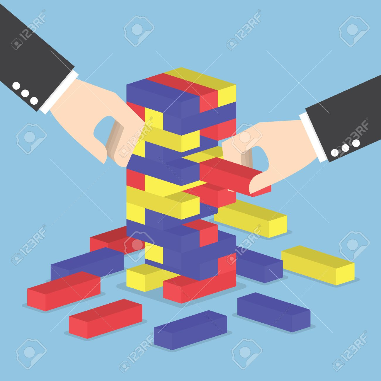 Businessman Hands Play Wood Block Tower Game Teamwork Strategy And Diagram Games Vision Concept Stockfoto