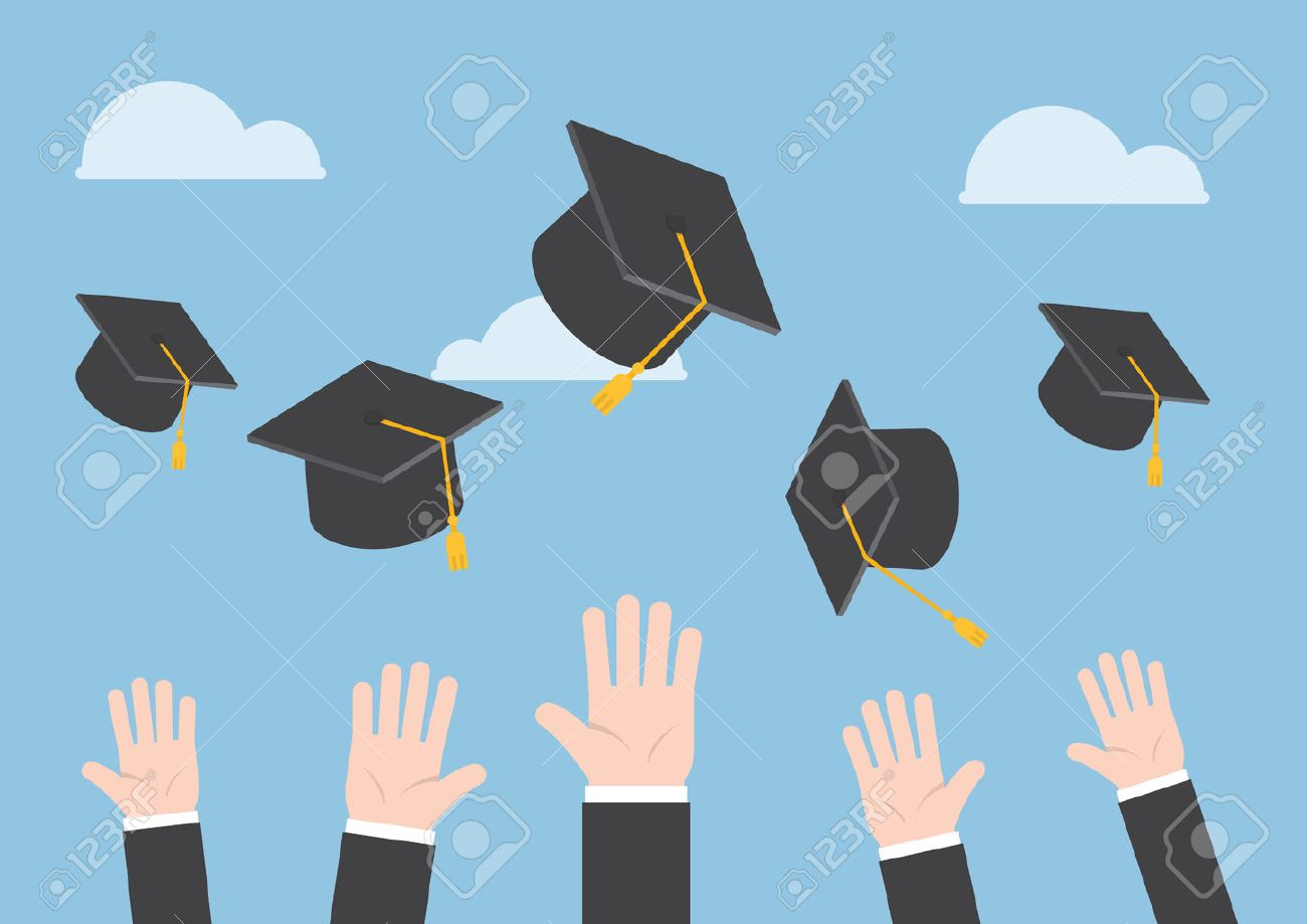 Businessman Hands Throwing Graduation Hat In The Air Royalty Free ...