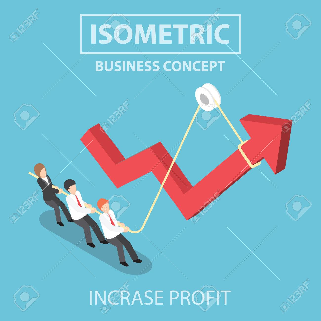 Business people pulling up arrow graph by using rope, Flat 3d web isometric infographics design, VECTOR, EPS10 - 51007351
