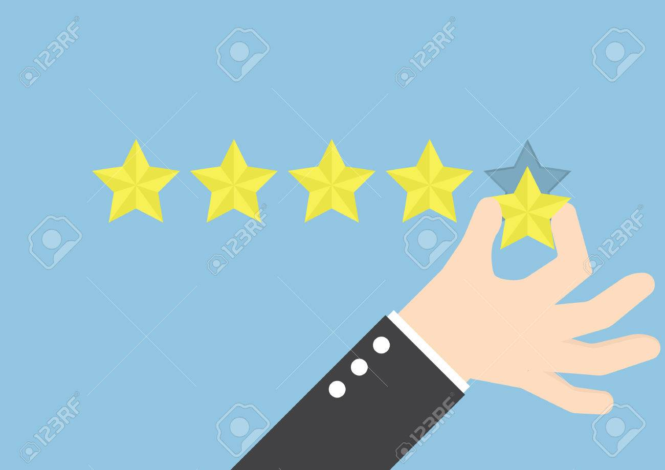 Businessman hand giving five star rating, Feedback concept - 51013089