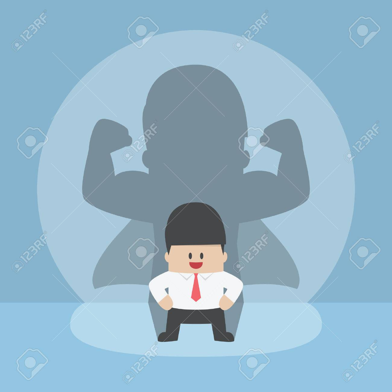 Businessman with his strong shadow, successful, leadership, confident concept - 52140352