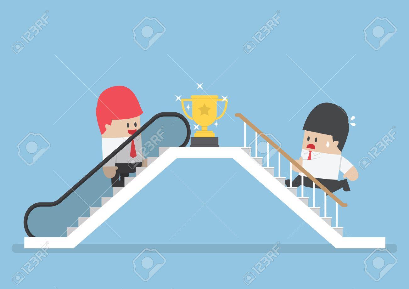 成功するエスカレーターと、成功への近道の階段を登る彼のライバルを ...