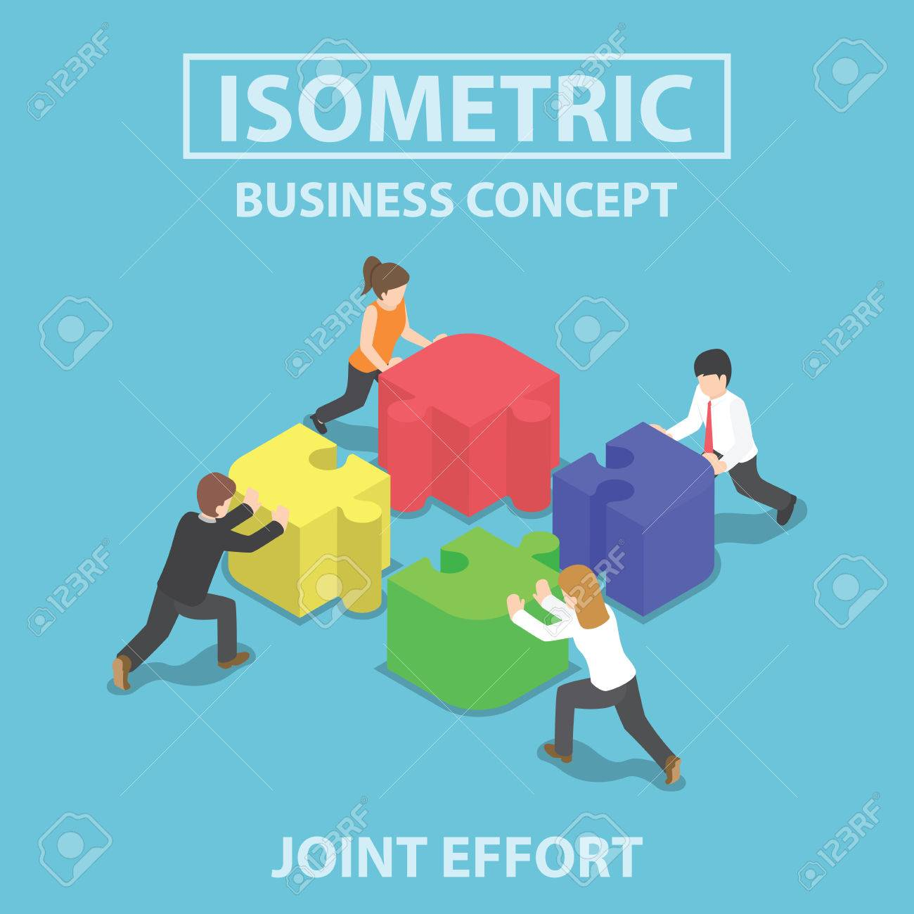 Isometric business people pushing and assembling four jigsaw puzzles, teamwork, collaboration, joint effort concept - 52578005