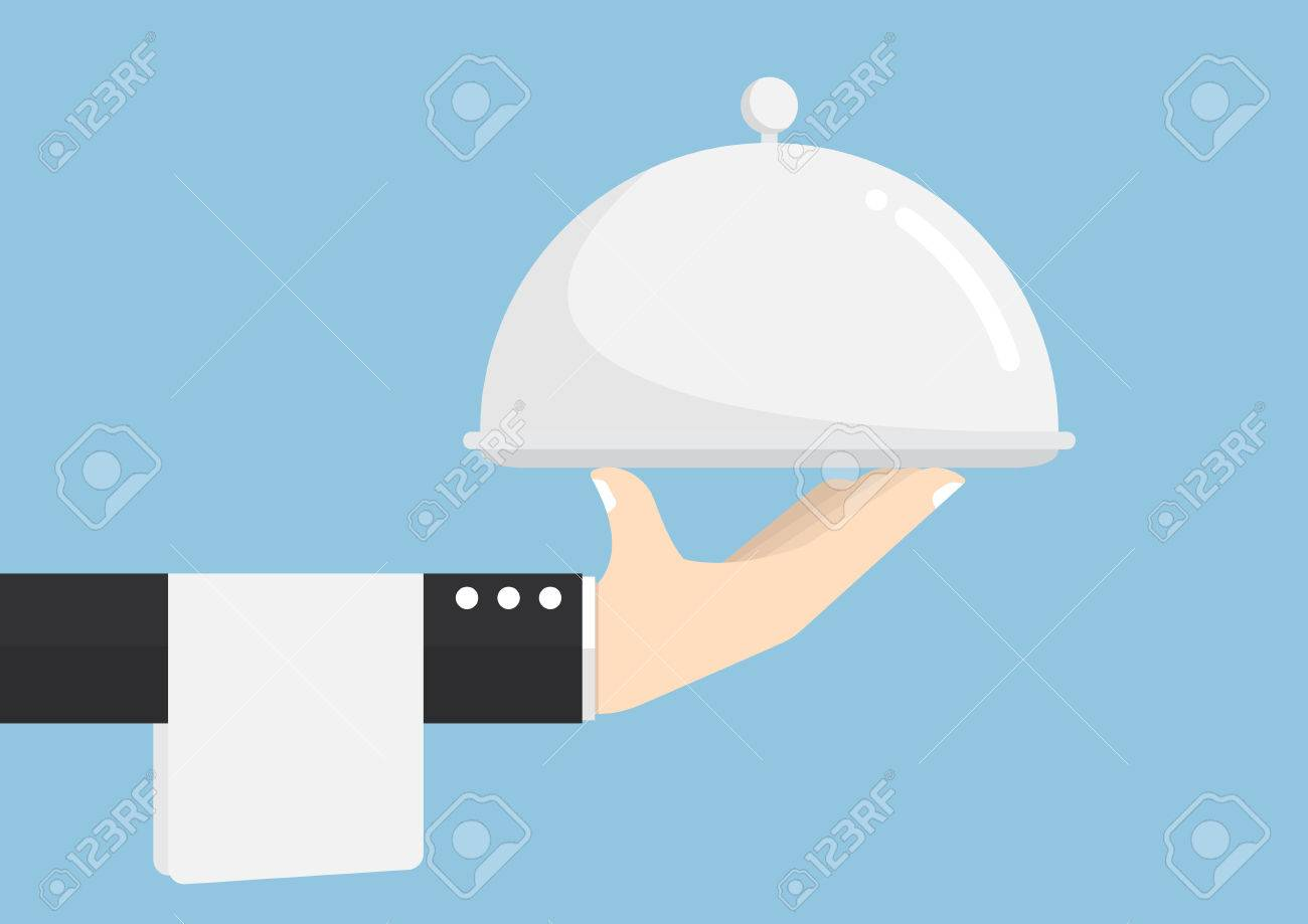 Waiter hand holding silver tray, service, delivery Concept - 56879351