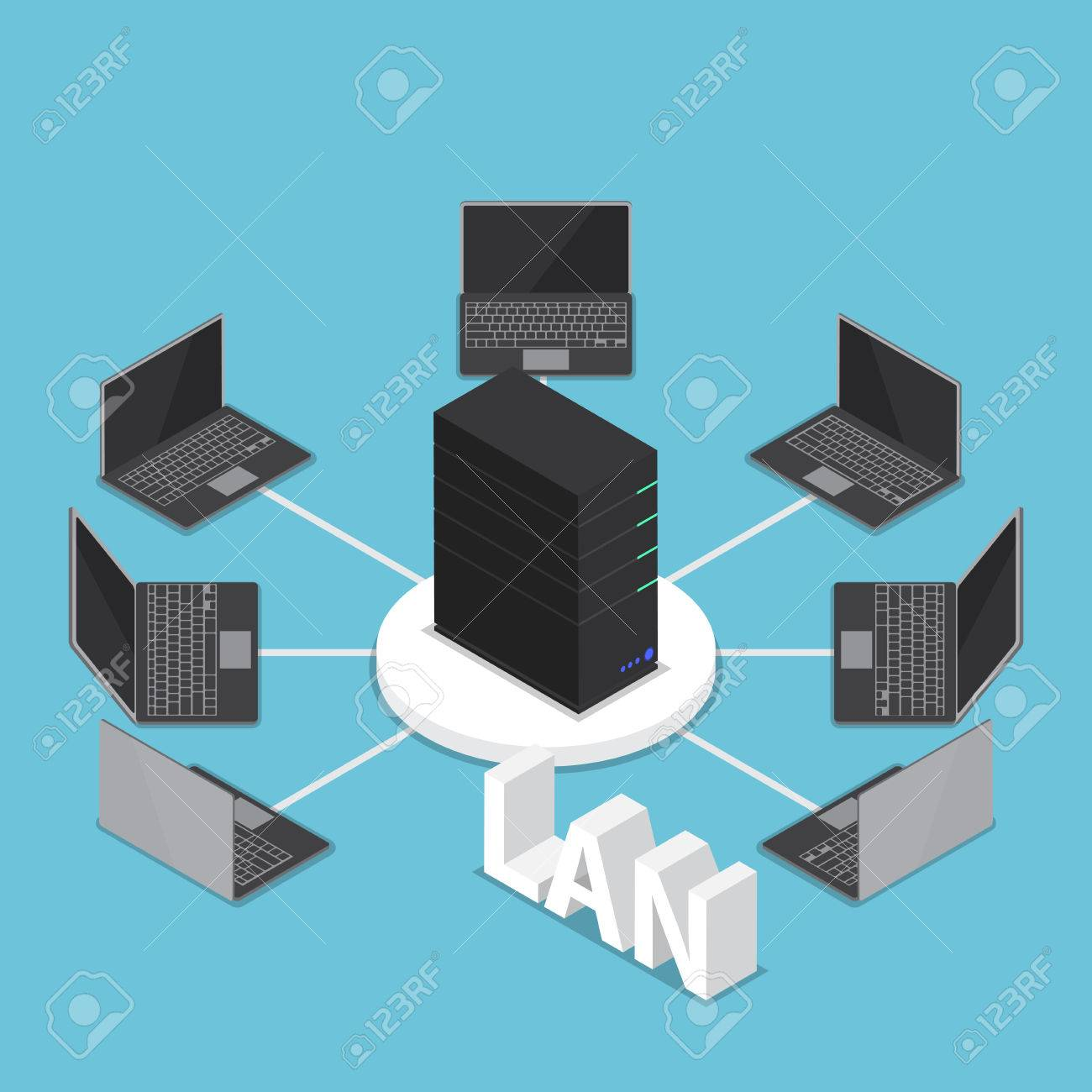 Isometric LAN Network Diagram, Computer Network And Technology ...