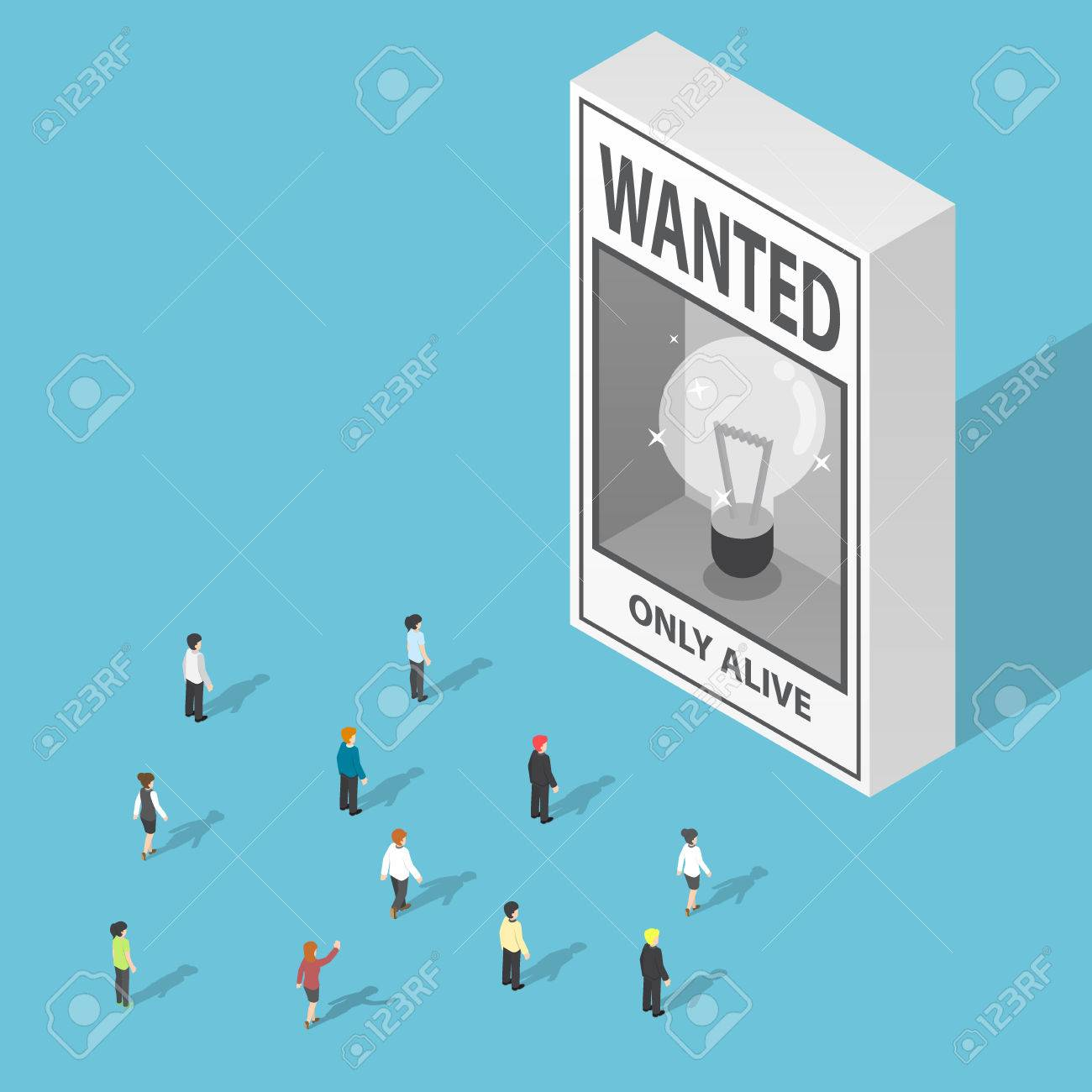 Isometric Business People Looking At Ideas Wanted Poster Lack