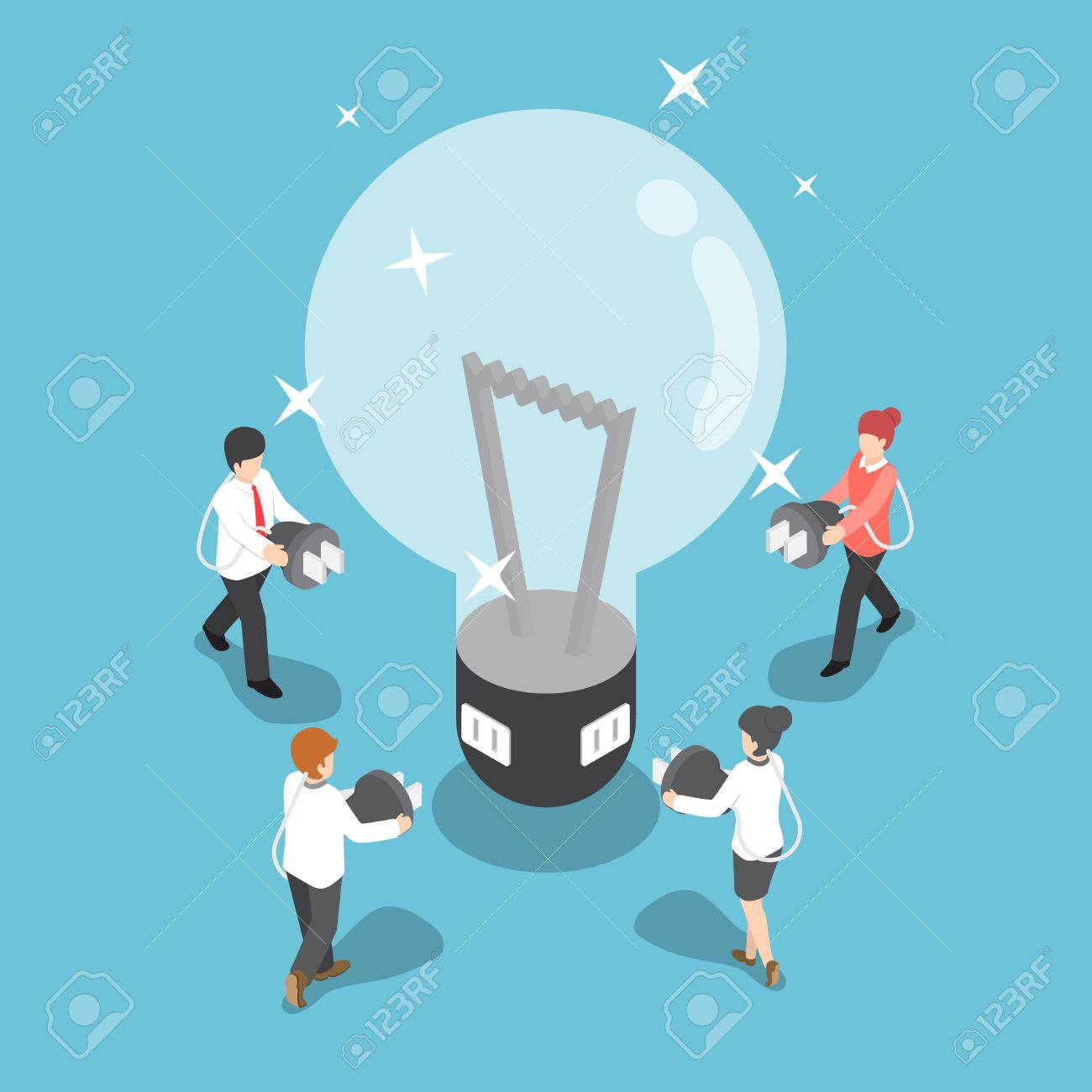 Isometric business people going to recharge idea from big light bulb, creative and idea concept - 62265580