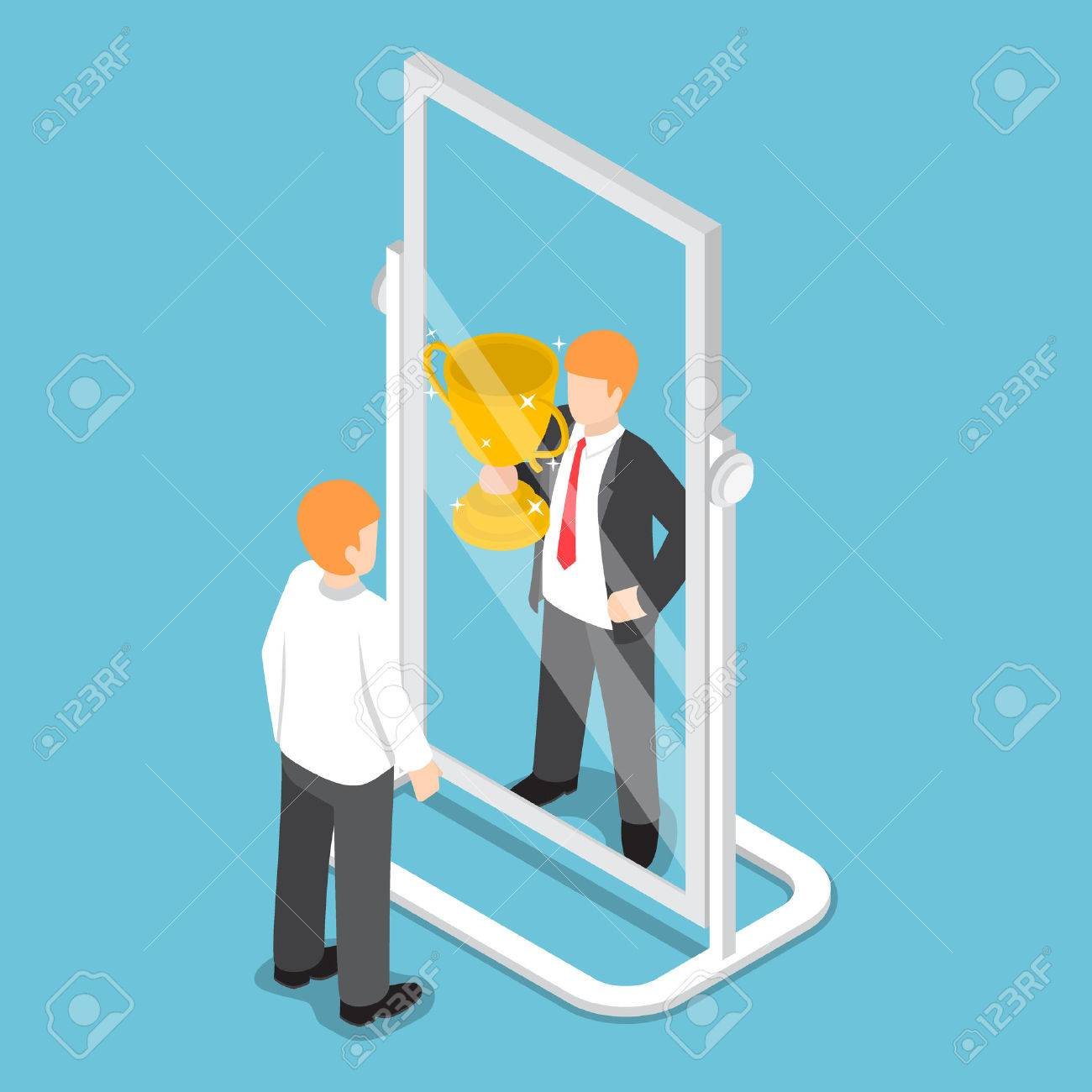 Flat 3d isometric businessman see himself being successful in the mirror, successful career concept - 75954003