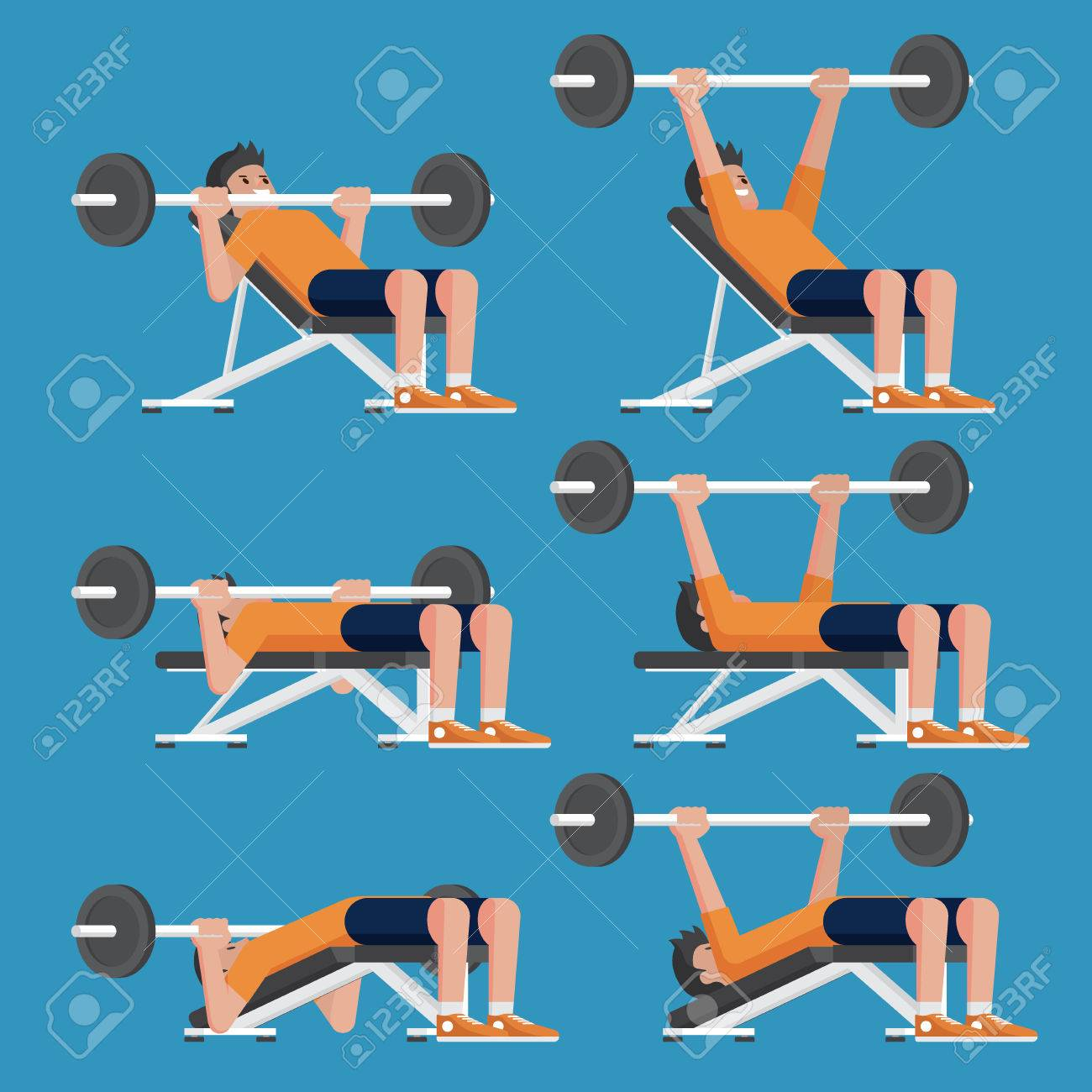 Set Of Man In Weight Training Chest Workout Poses Incline Decline Royalty Free Cliparts Vectors And Stock Illustration Image 82612451
