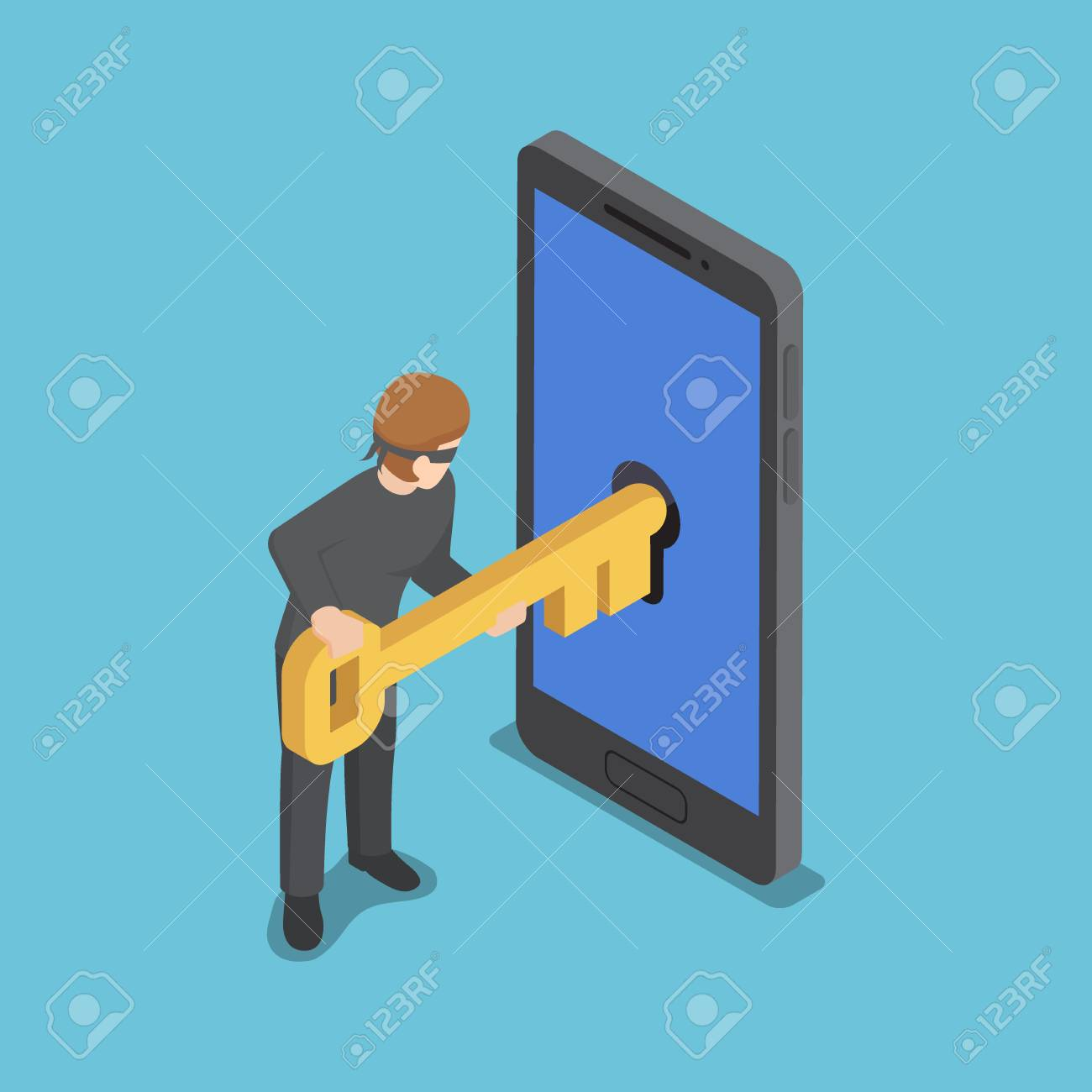 Flat 3d isometric thief or hacker use key to hack into smartphone,