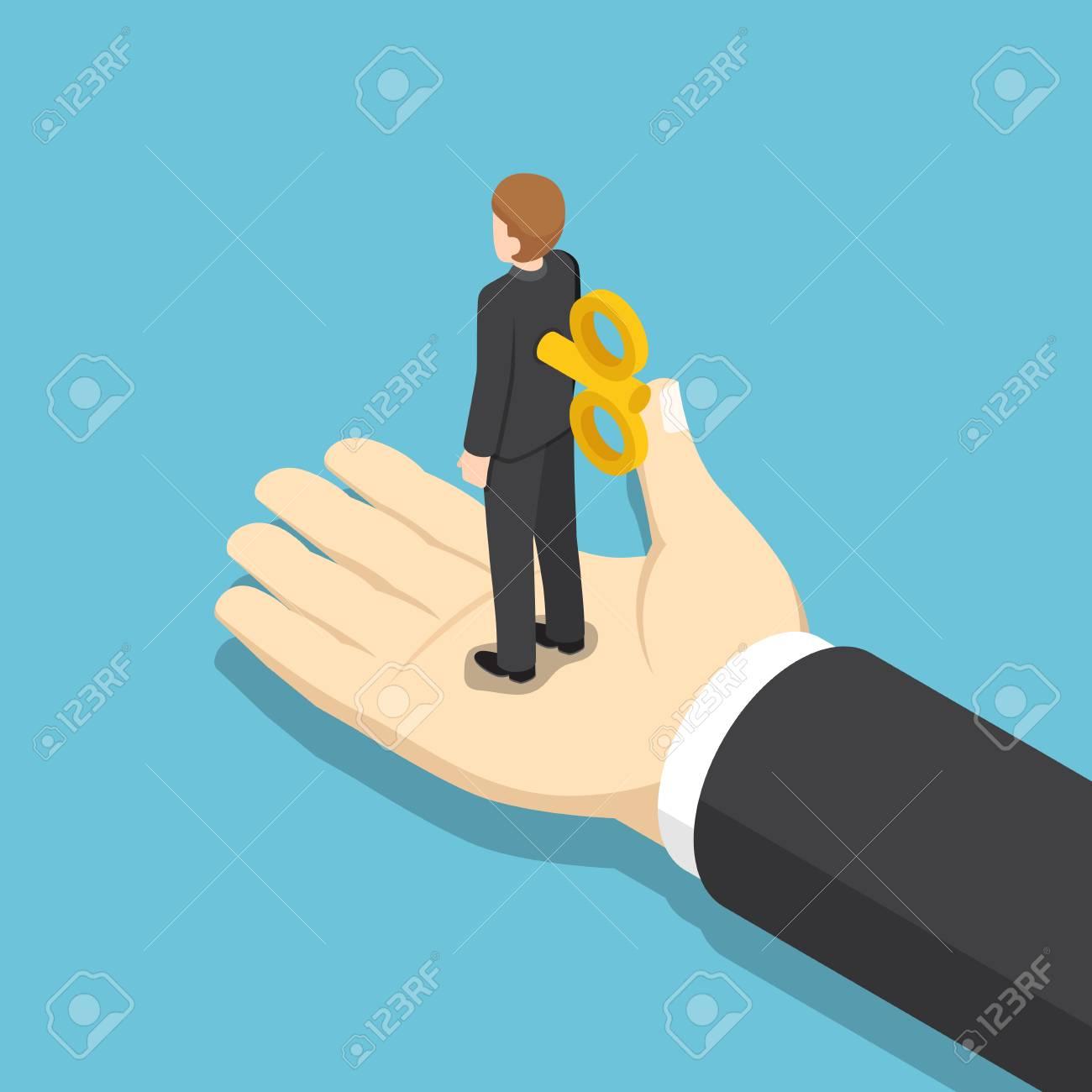 ce3c024381e0 Foto de archivo - Hombre de negocios isométrico plano 3d con la clave de la  conclusión en su parte posterior que se coloca en la mano gigante.
