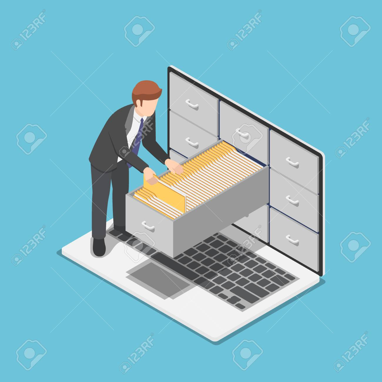 Flat 3d isometric businessman manage document folders in cabinet inside the laptop screen. File and data management concept. - 125411620