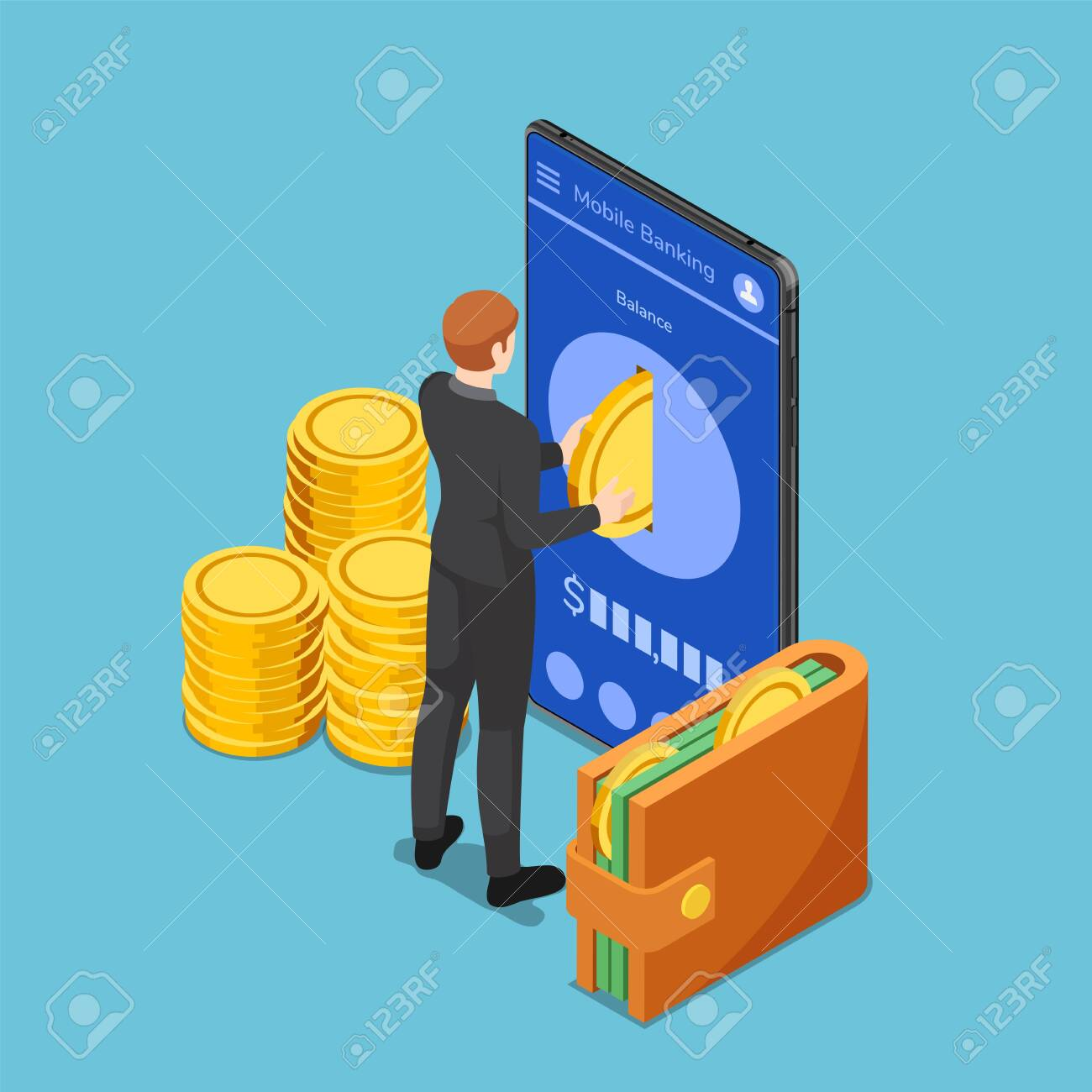 Flat 3d isometric businessman put gold coin into smartphone. Mobile banking concept. - 136041828