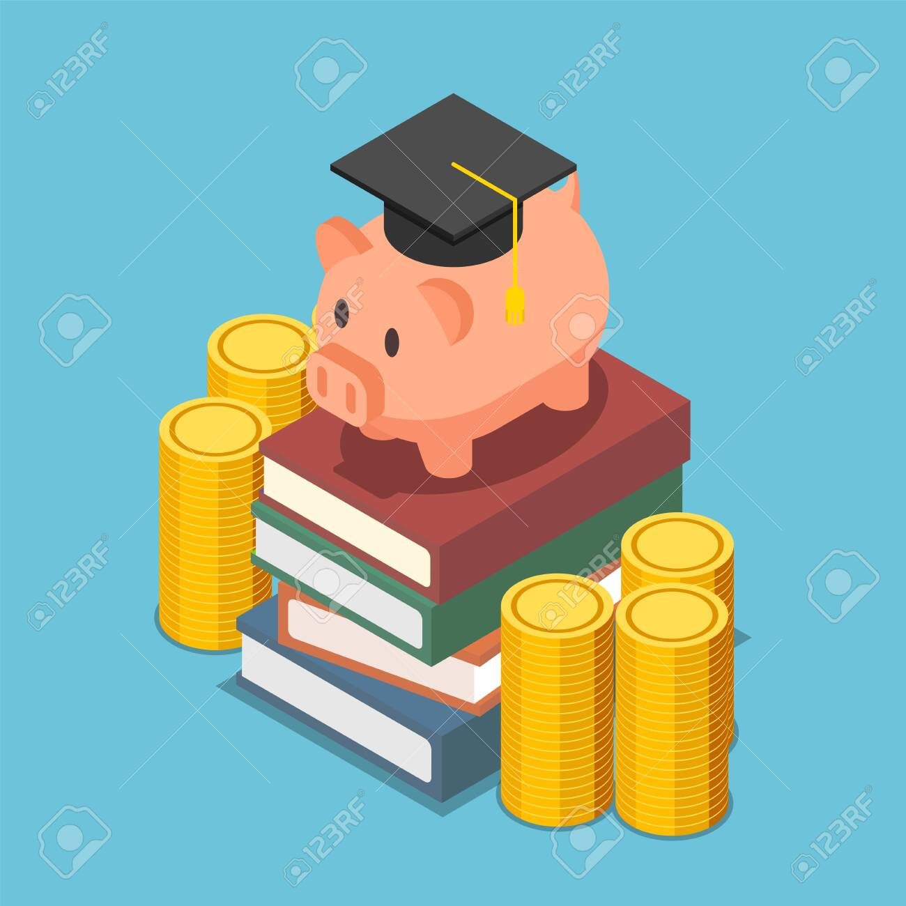 Flat 3d isometric piggy bank with graduation cap on the stack of book. Investment in education concept. - 140951263
