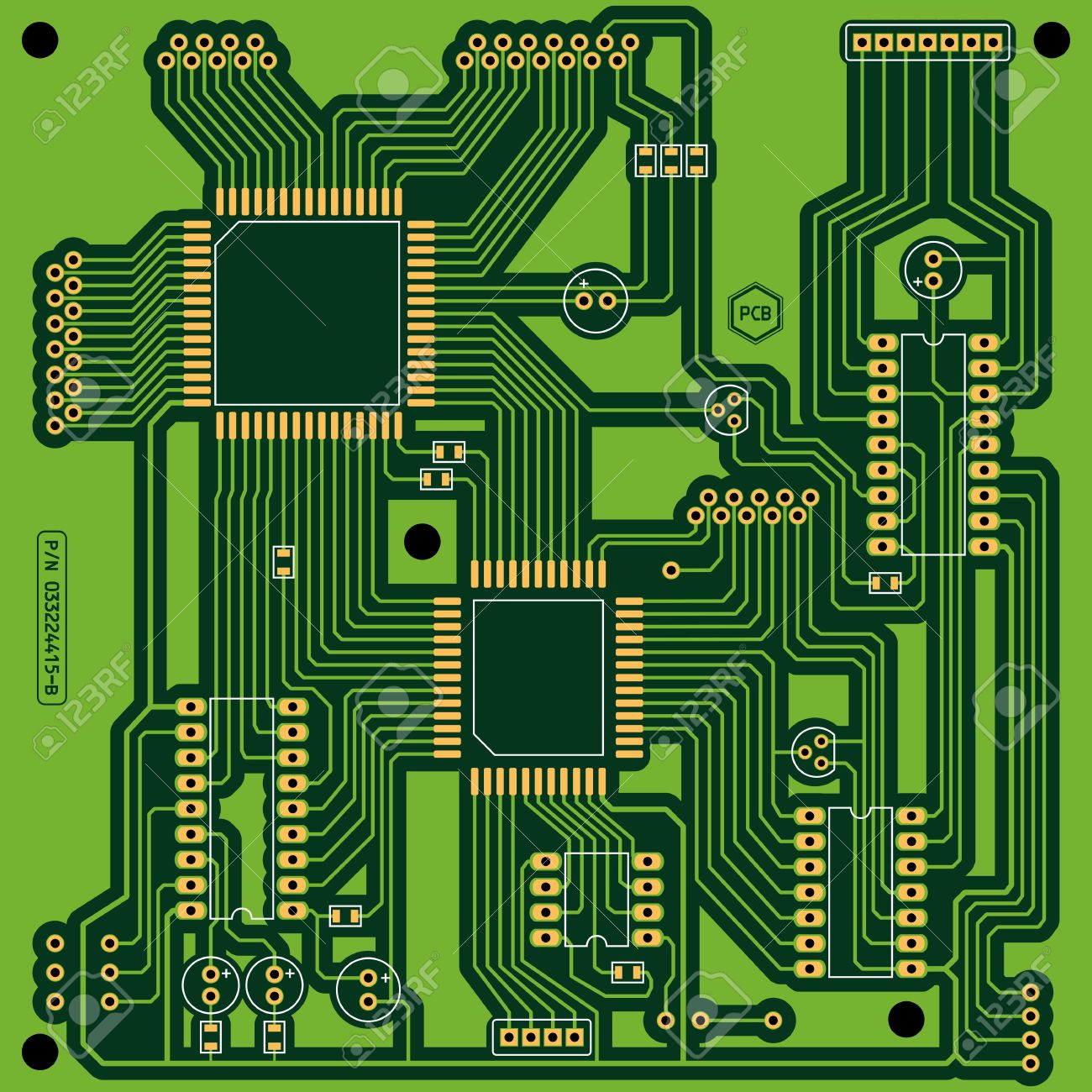Circuito Impreso : Ilustración de un color verde placa de circuito impreso pcb sin