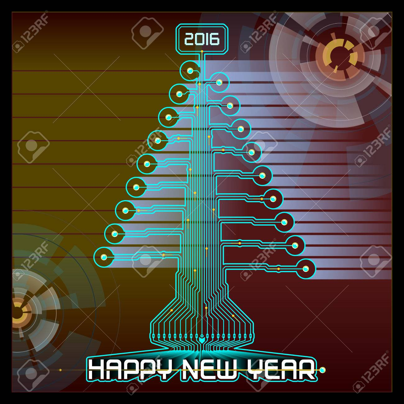 Techno Design Of A Christmas Tree With New Year Greetings Royalty