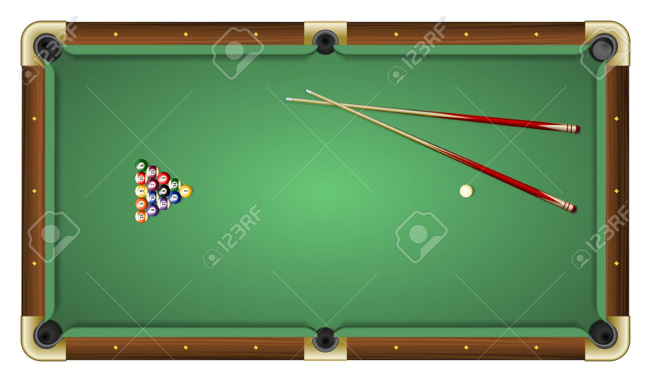 Merveilleux Realistic Vector Illustration Of A Green Pool Table With Balls And Cues.  Top View.