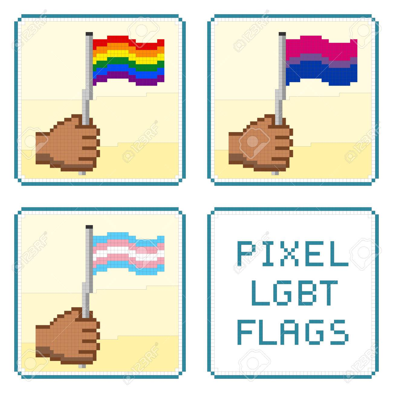 pixelized hands holding lgbt flags all elements sorted and