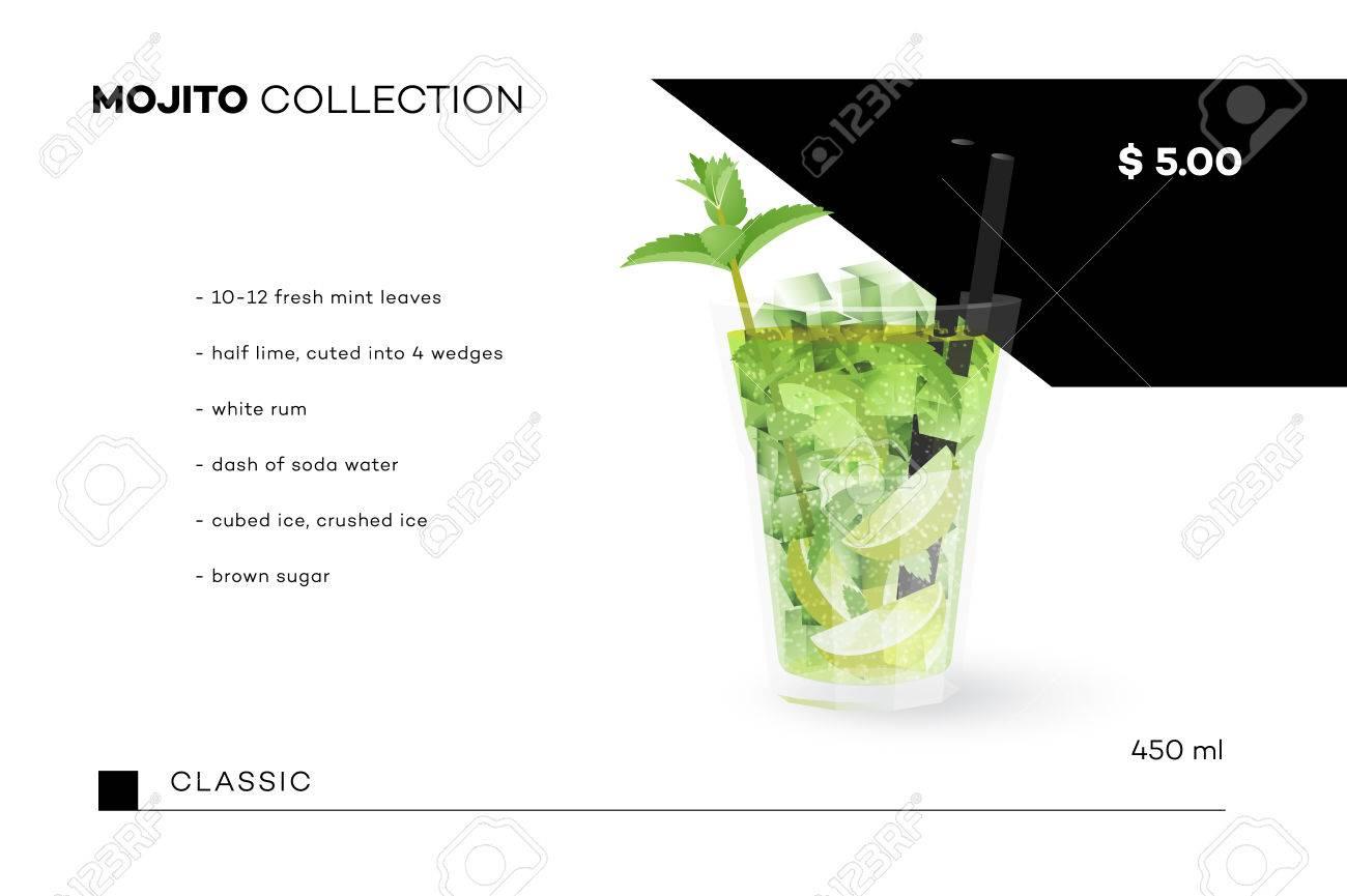 Mojito Sammlung Vector Menü Vorlage Mit Realistischen Cocktail ...