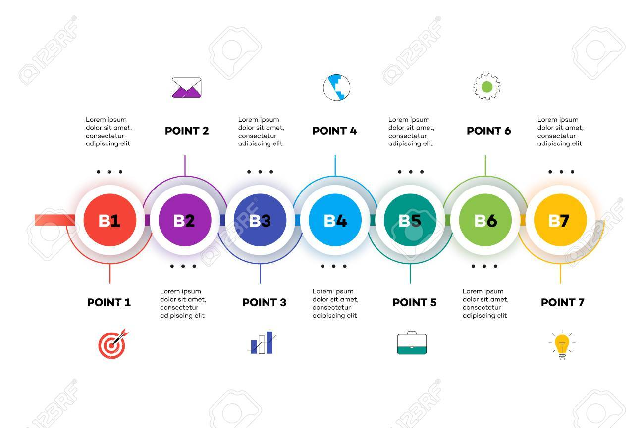 Layered Horizontal Infographic Timeline  Vector Template For