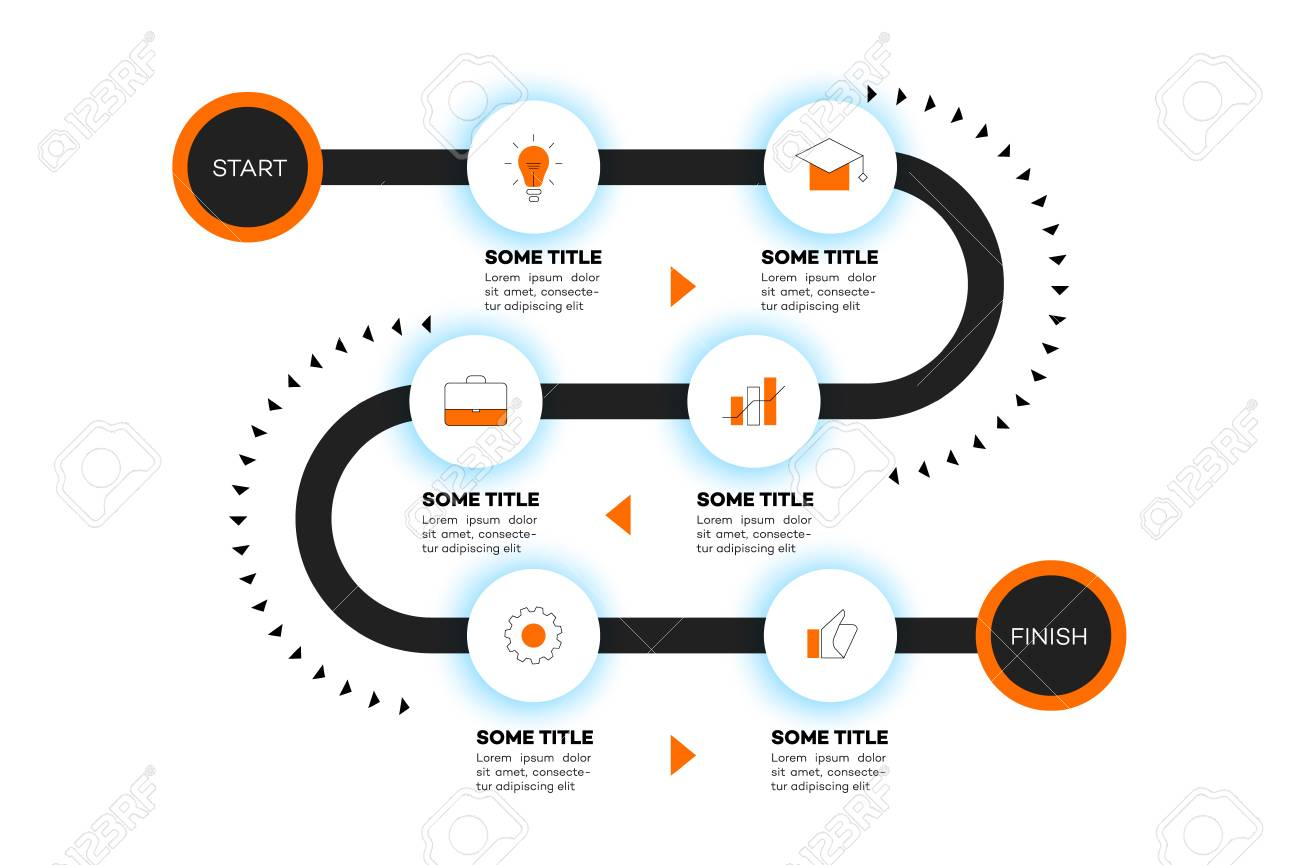 Layered Infographic Timeline. Vector Roadmap, Template For Modern ...