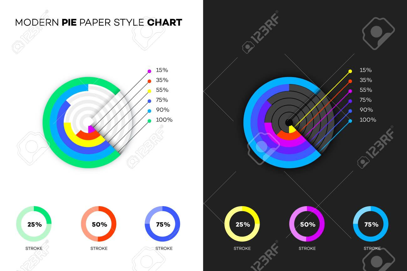 modern paper style pie chart royalty free cliparts vectors and