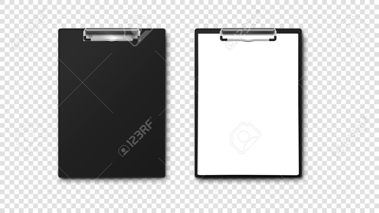 empty paper holder and clipboard with a4 paper stack isolated