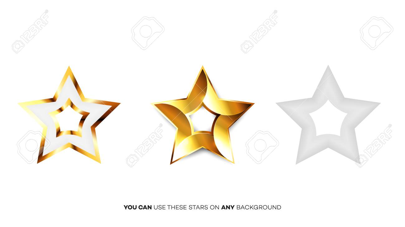 Vector Perfect Glossy Golden Stars Template For Christmas Award
