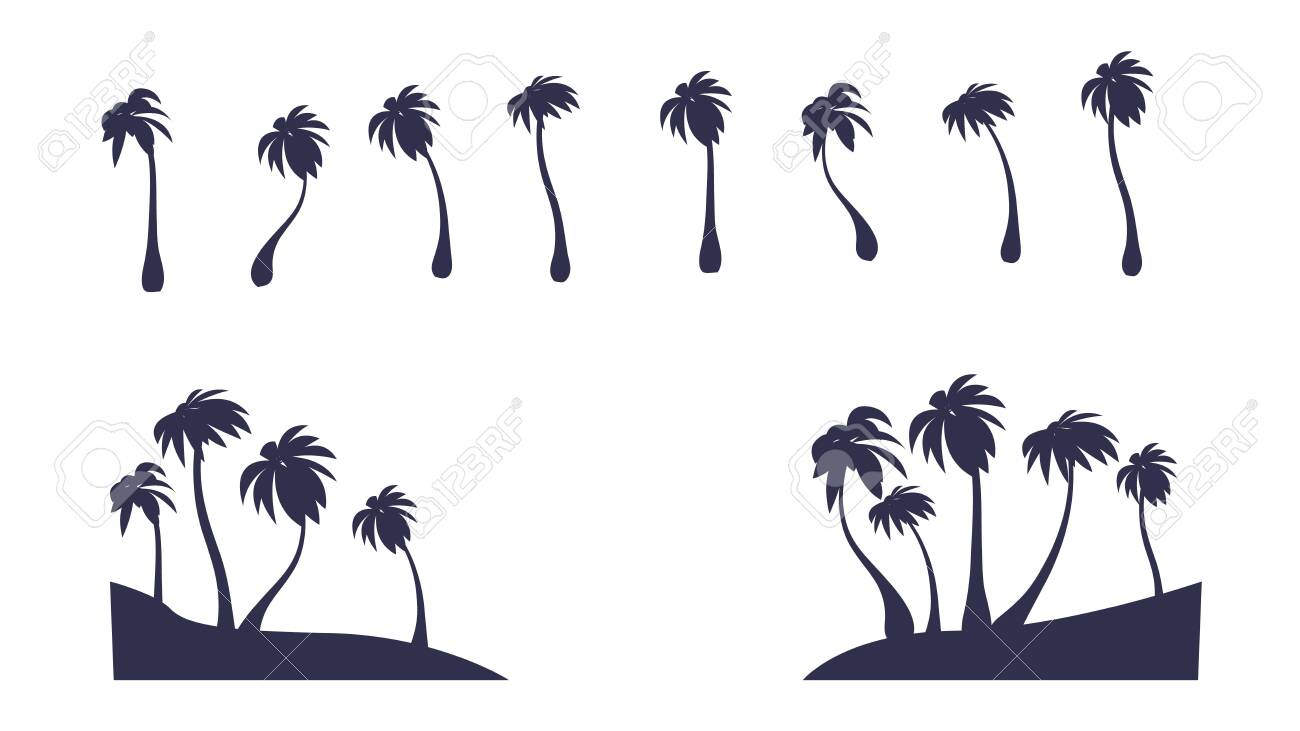 Abstract Vector Isolated Palm Silhouette Tropic Tree Clipart