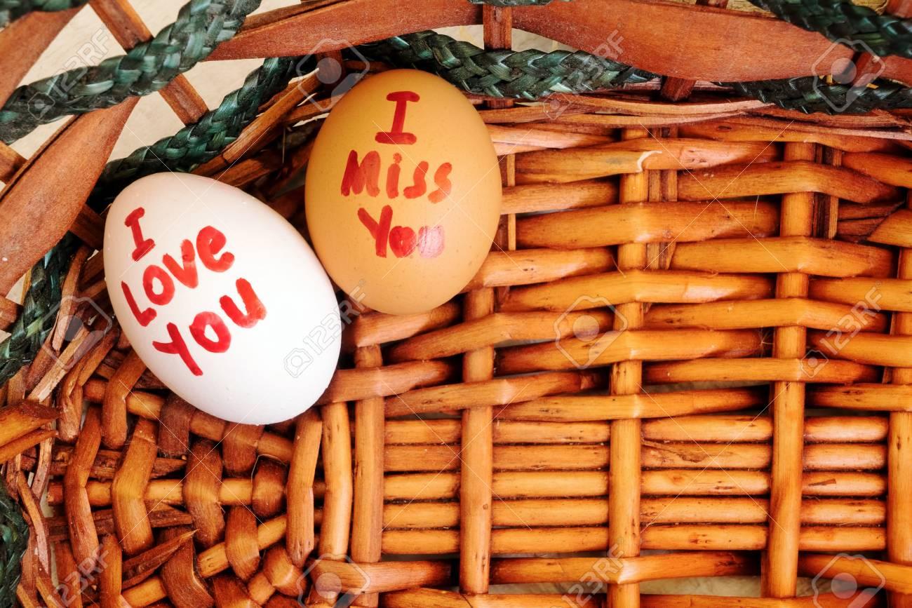 I Love You And I Miss You Writes On Eggs Photo Lizenzfreie Fotos