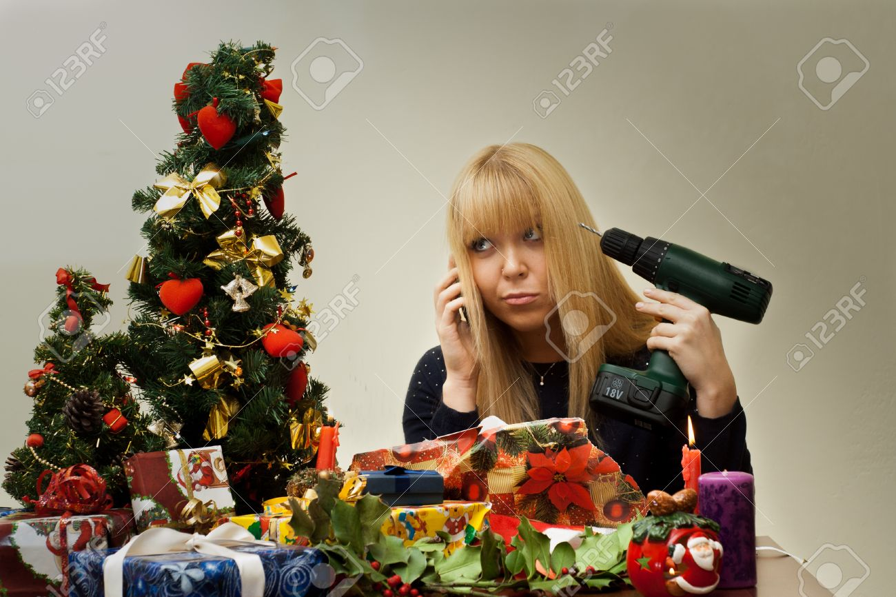 Bad Christmas Gift Makes A Beautiful Girl Feel Unhappy Stock Photo ...