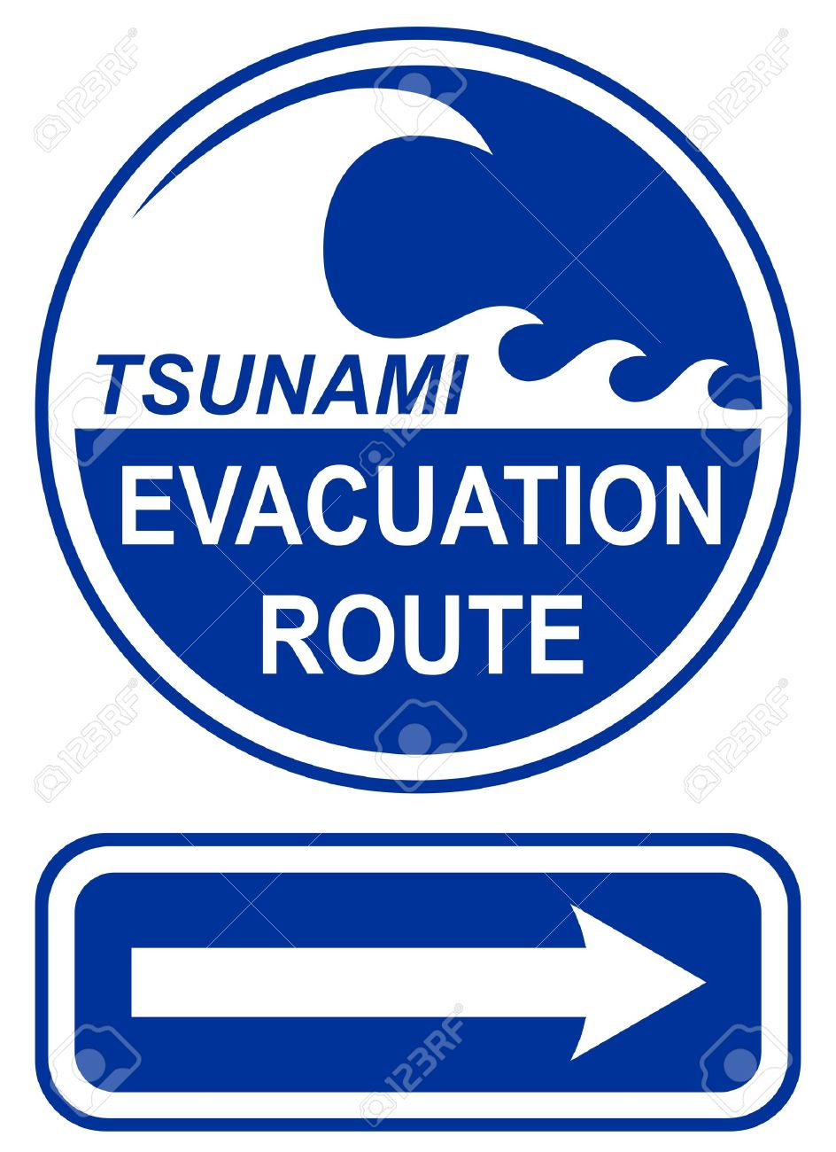 Tsunami Evacuation Route Sign Stock Vector - 9399324