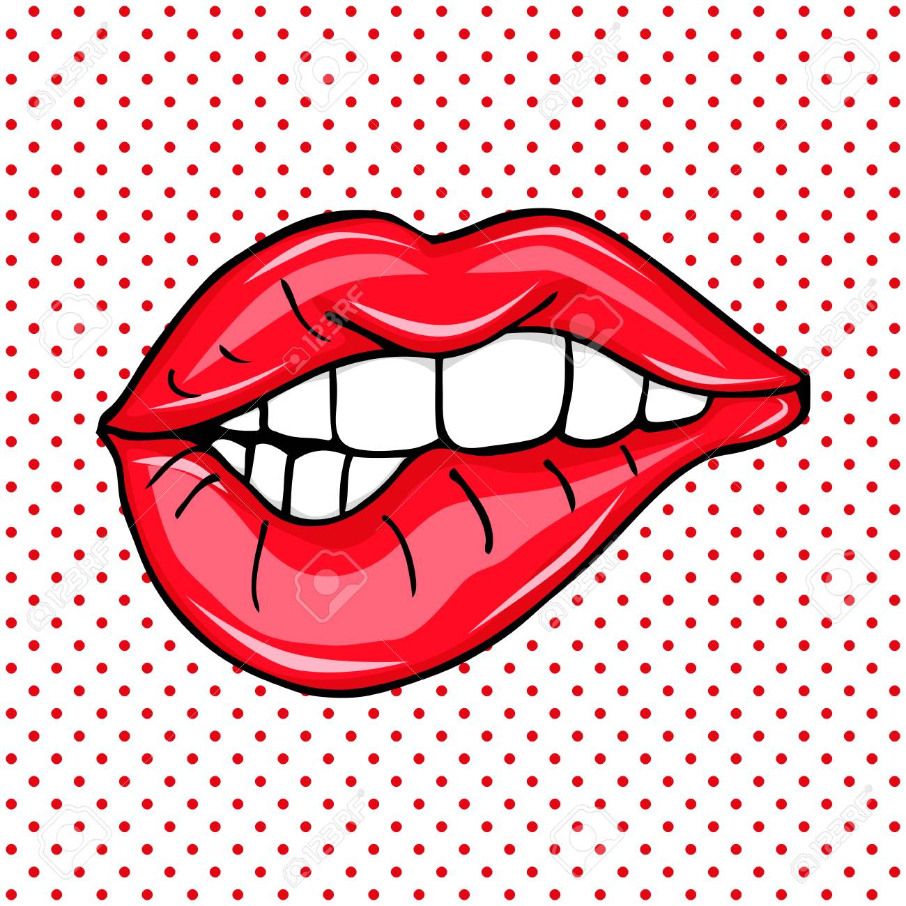 Sweet Sexy Pop Art Pair Of Glossy Vector Lips Artwork Backgrounds Royalty Free Cliparts Vectors And Stock Illustration Image 117669058
