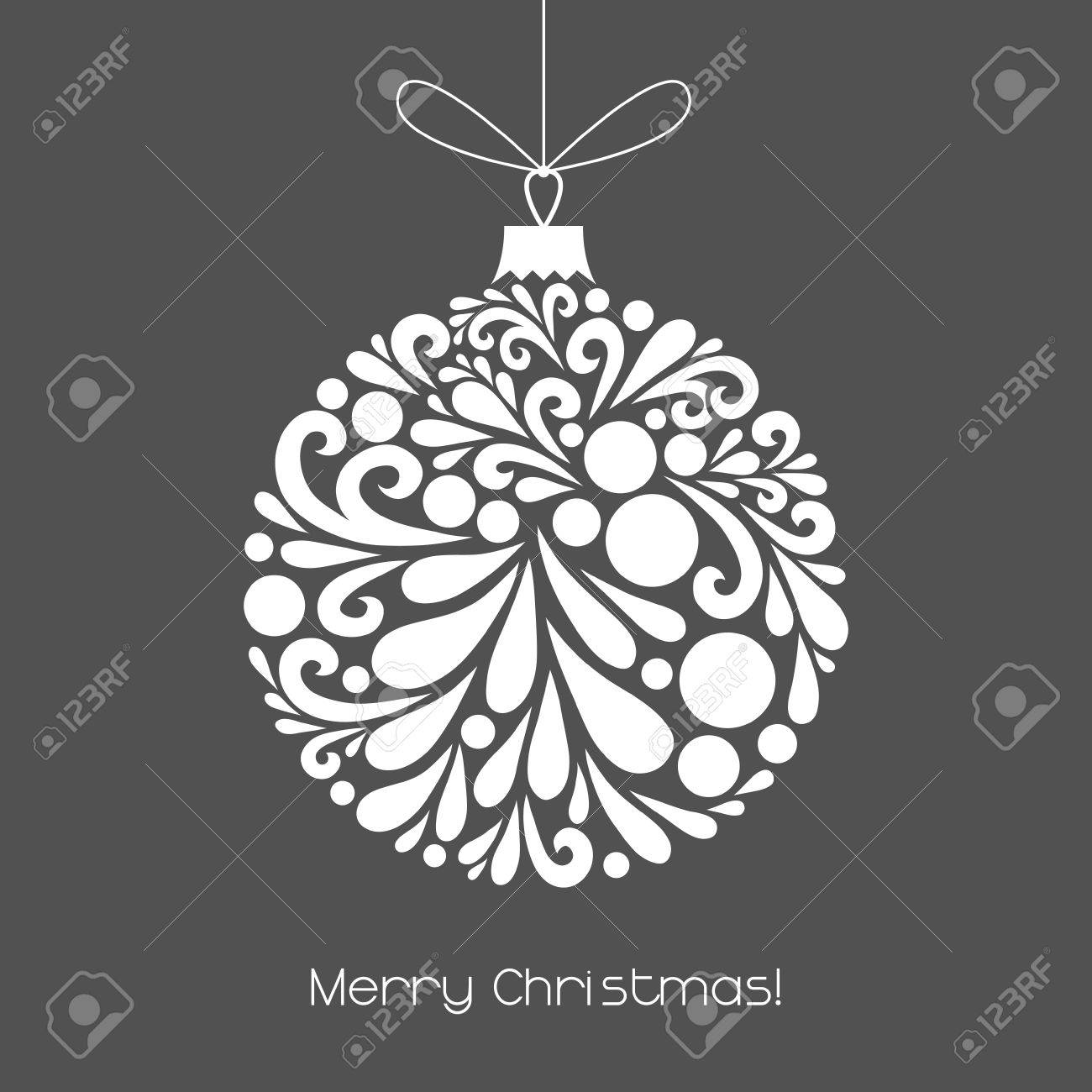 Vector christmas decoration made from swirl shapes unusual circle banco de imagens vector christmas decoration made from swirl shapes unusual circle design element greeting invitation card simple decorative gray and stopboris Image collections