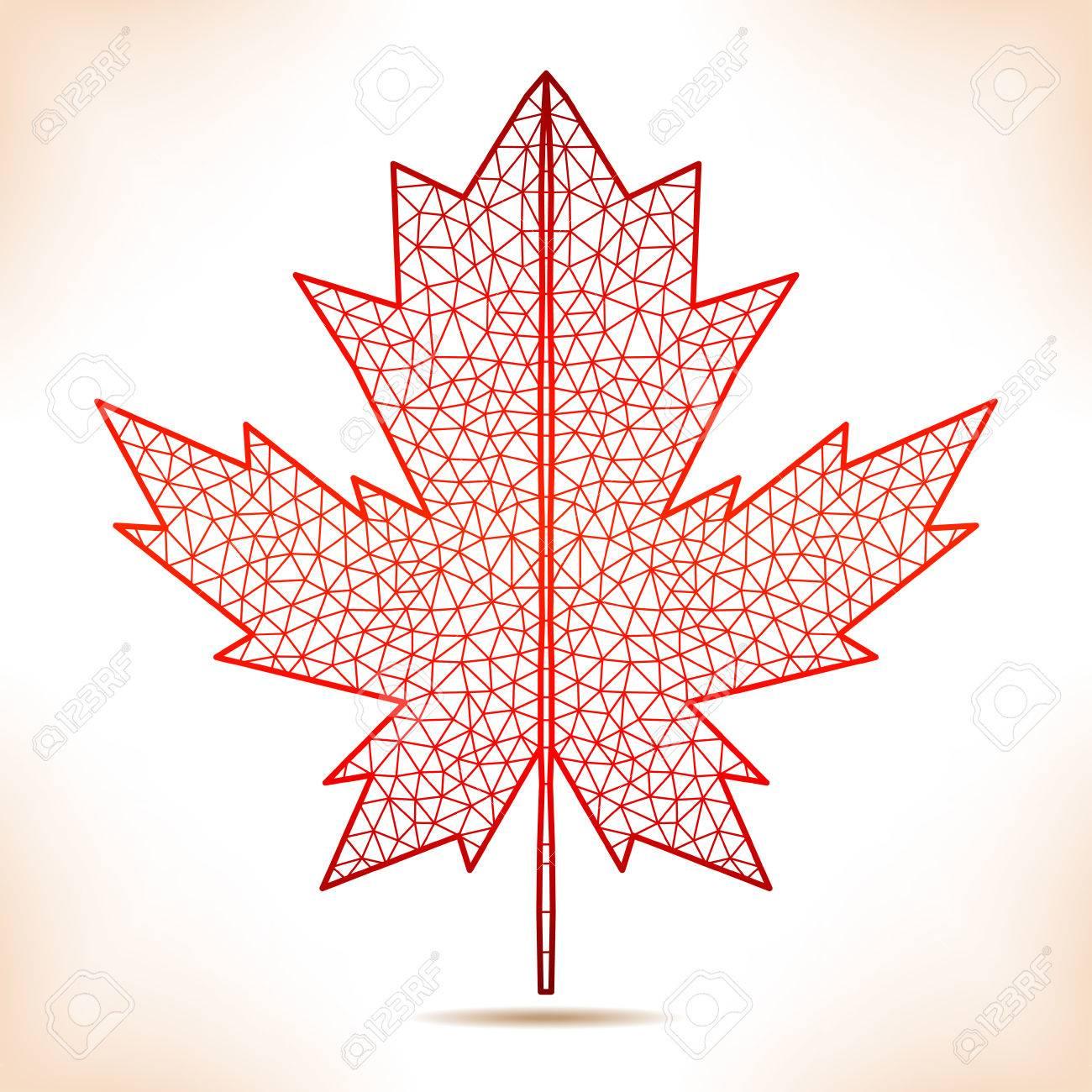 geometric interpretation of the red maple leaf royalty free